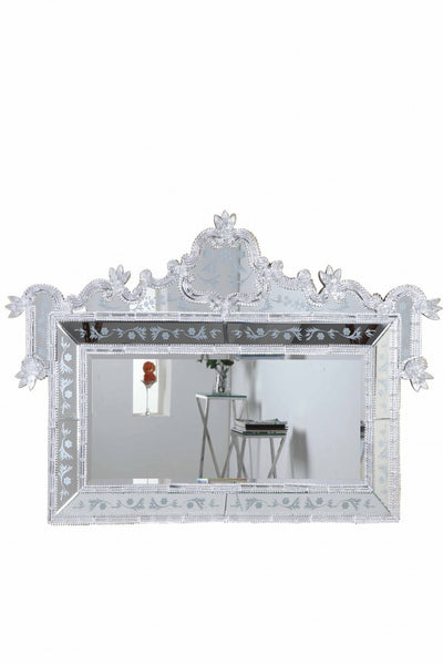 "Clear Mirror, Silver Border with Clear Flower 58""L x 2-3/4"" W x 39""H"