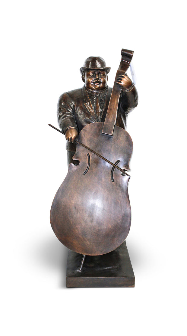 "Man With Cello - Green/Brown 16""L x 12""W x 32""H"