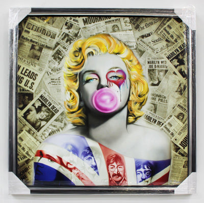 "Bubble Gum Britian Embellished Giclee On Canvas  by Marc Rudinsky 52.5""W x 52.5""H"