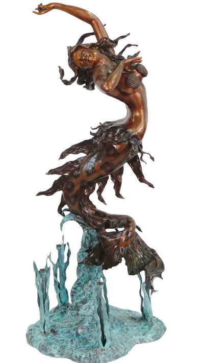 "Mermaid Four Sprays Fountain on Base 43""L x 32""W x 79""H"