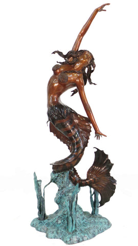 "Mermaid Four Spray Fountain 36""L x 35""W x 86""H"