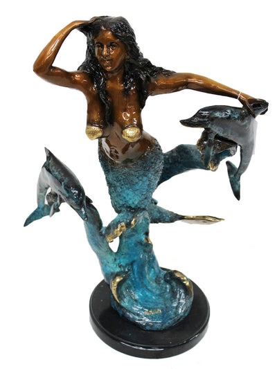 "Mermaid with Dolphin on Marble Base - Special Patina 16""L x 12""W x 22""H"