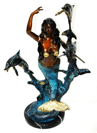 "Mermaid with Three Dolphins on Marble Base - Special Patina 14""L x 11""W x 26""H"