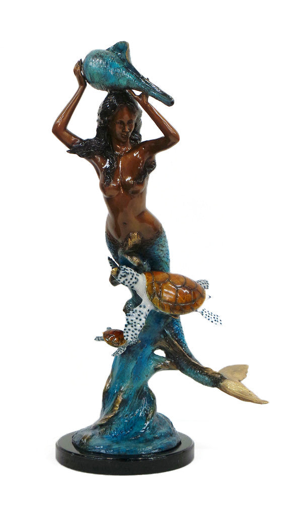 "Mermaid with Turtle Fountain - Special Patina with Marble Base 17""L x 22""W x 41""H"