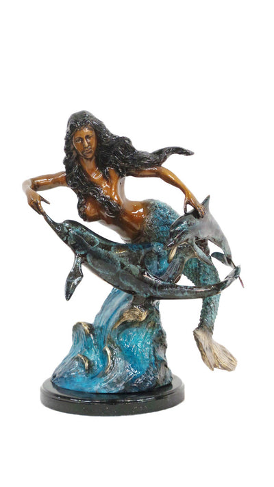 "Mermaid with Two Dolphins on Marble Base - Special Patina 17""L x 11""W x17""H"