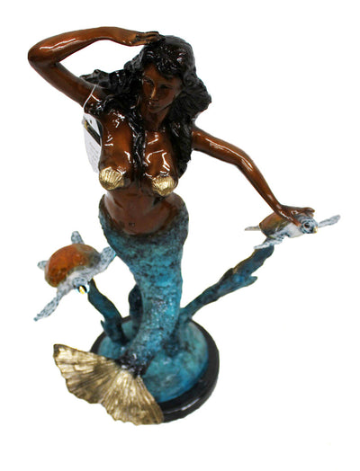 "Mermaid with Two Turtles on Marble Base - Special Patina 9""L x 15""W x 22""H"