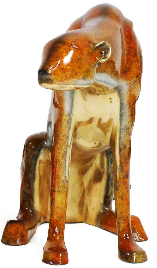 "Modern Tiger Sitting Statue - Right - Special Patina 47""L x 16""W x 29""H"