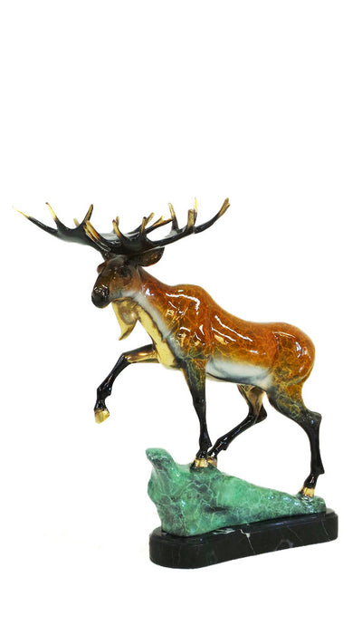 "Moose on Marble Base - Special Patina 18""L x 16""W x 21""H"
