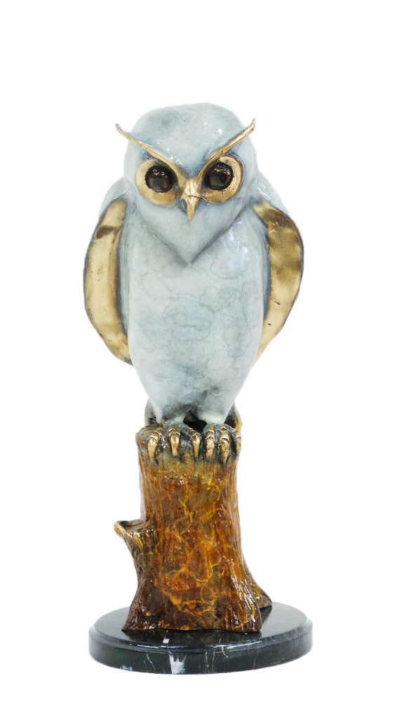 "Owl on Tree on Marble Base - Special Patina 10""L x 11""W x 20""H"