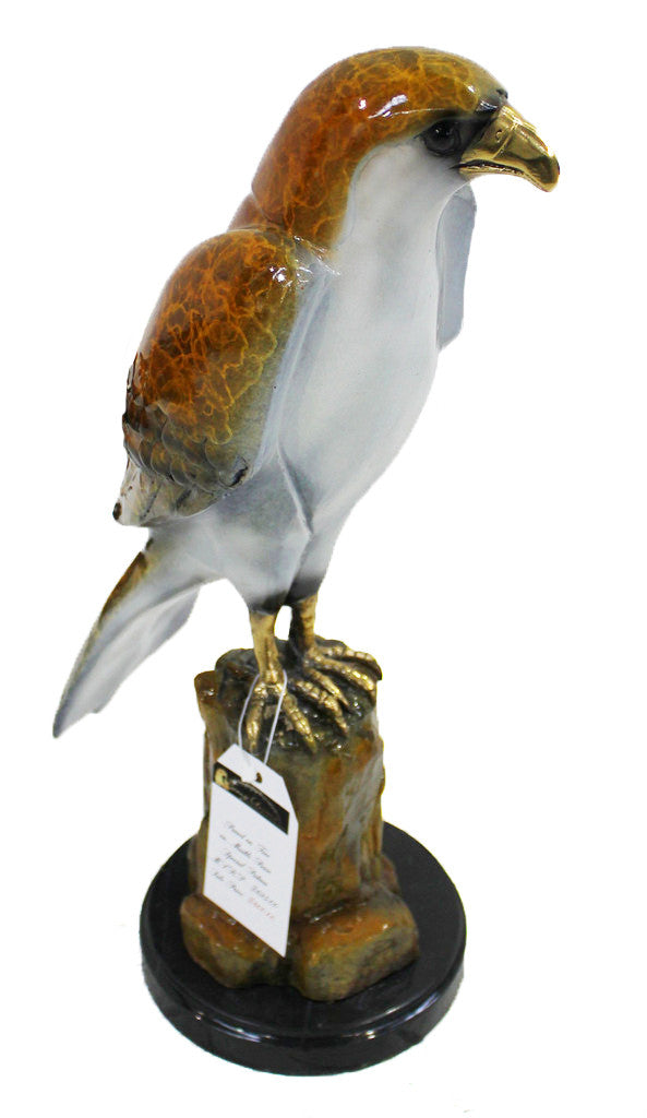 "Hawk on Tree on Marble Base - Special Patina 6""L x 9""W x 18""H"