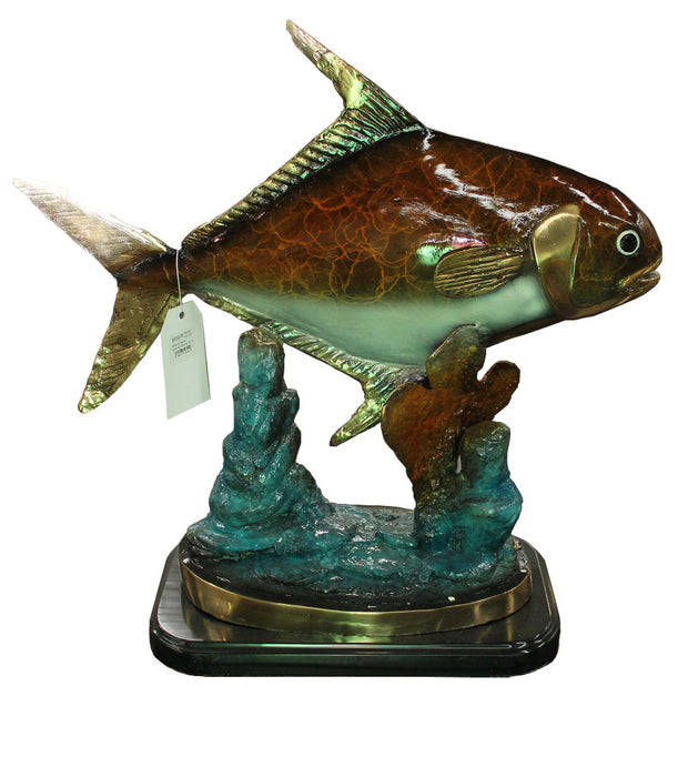 "Permit Fish on Marble Base - Special Patina 20""L x 10""W x 19""H"