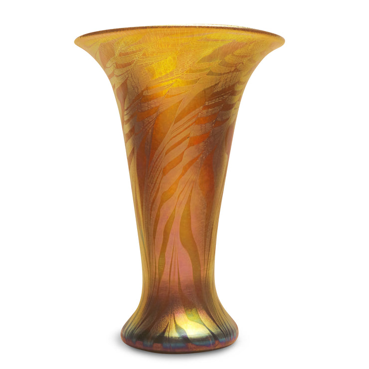 "Petite Flare Vase Gold Moire on Gold- 8"" High"