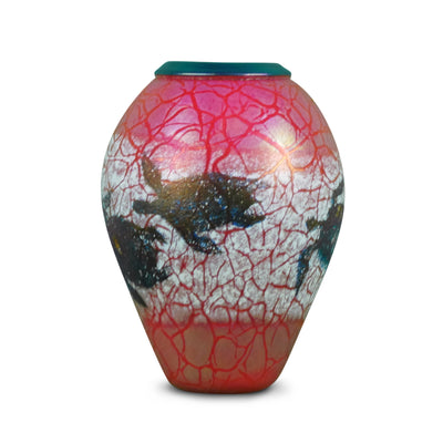 "Red & Blue Pompeli Turtle Vase with Folded Lip 6""H  x 4""D"