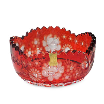 "Red Bowl 183 Meissen Flower with London 4.5"" Diameter"