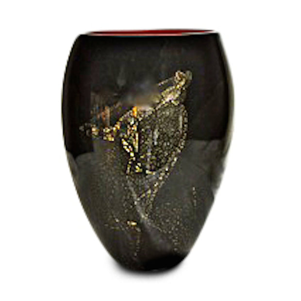 "Red Onyx Vase (Gold) 8"" High"