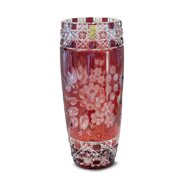 "Red Vase 504 Meissner Flower with London 11"" High"