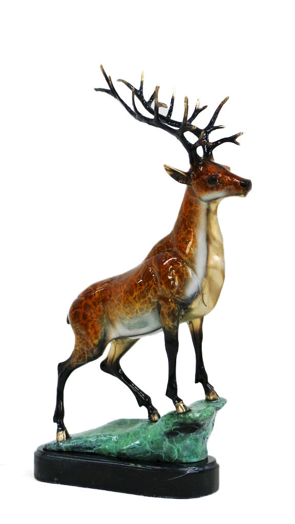 "Reindeer on Marble Base - Special Patina 16""L x 6""W x 22.5""H"