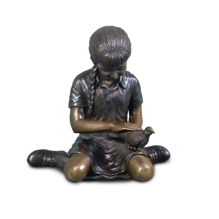 "Sitting Girl with Bird in Hand 14""L x 9""W x 14""H"