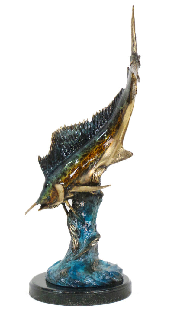 "Sword Fish on Marble Base - Special Patina 11""L x 14""W x 20""H"
