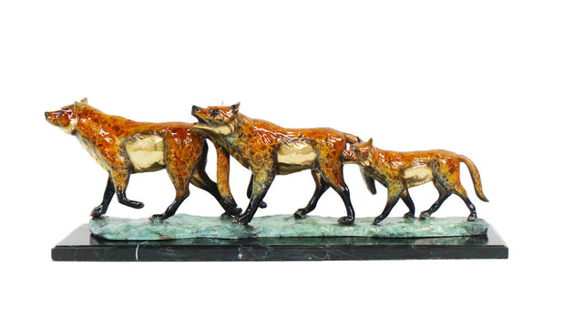 "Three Wolves on Base and Marble Base with Special Patina 38""L x 9.5""W x 13""H"
