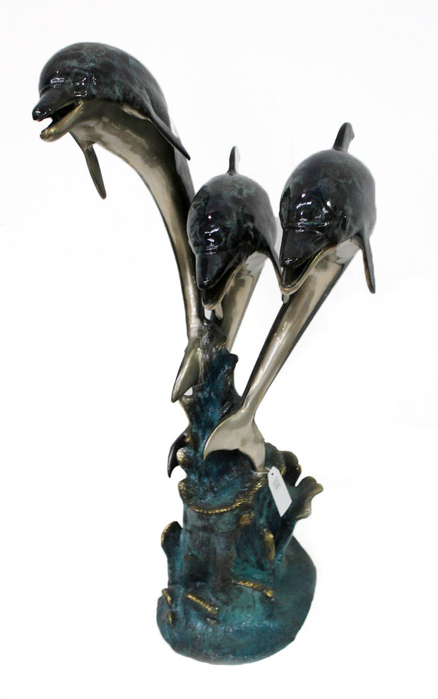 "Three Dolphins Fountain - Special Patina 23""L x 26""W x 46""H"