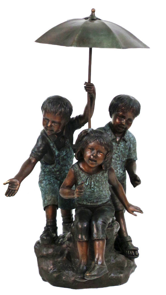 "Three Kids with Umbrella 17""L x 24""W x 37""H"