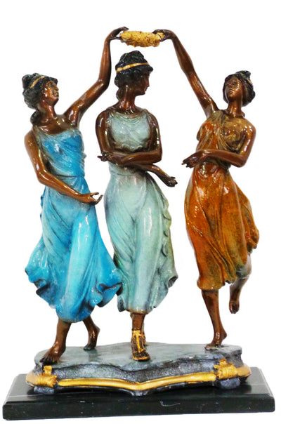 "Three Ladies on Marble Base - Special Patina 15.5""L x 9""W x 24""H"