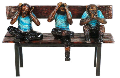 "Three Monkeys on Bench - Special Patina 44""L x 18""W x 30""H"