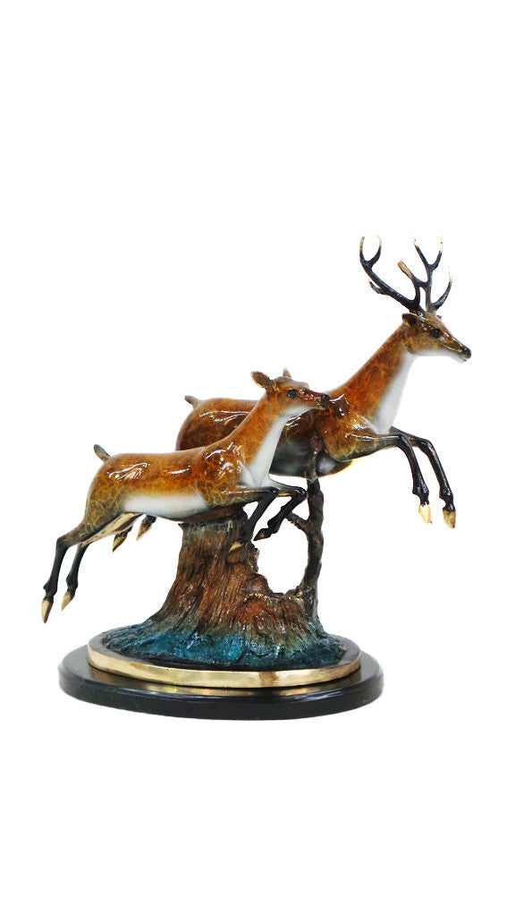 "Two Deer Jumping on Marble Base - Special Patina 11""L x 23""W x 21.5""H"