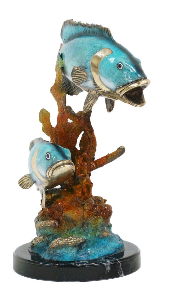 "Two Fish on Marble Base 17""L x 12""W x 24""H"