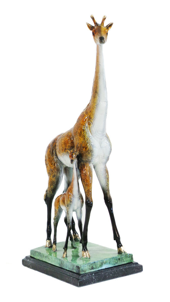 "Two Giraffes on Marble Base - Special Patina 16""L x 9""W x 28""H"