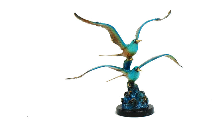 "Two Seagulls on Marble Base - Special Patina 37""L x 19""W x 30""H"