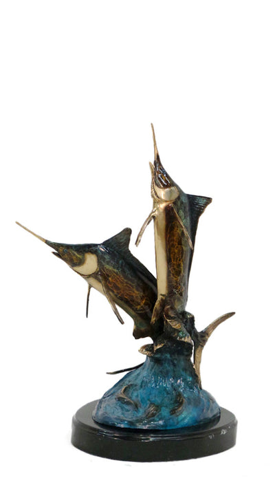 "Two Sword Fish on Marble Base - Special Patina 14""L x 16""W x 22""H"