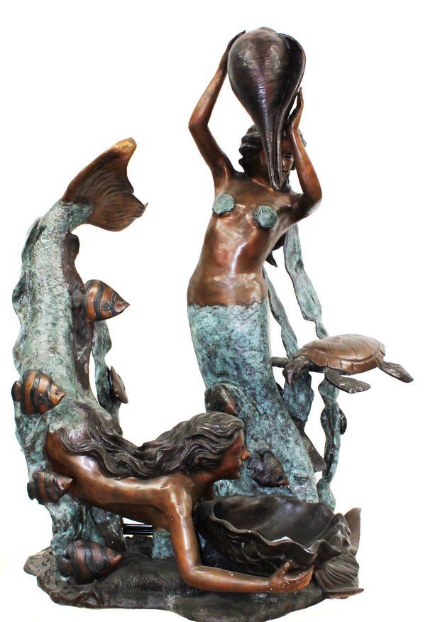 "Two Mermaids Holding Shell 64""L x 49""W x 86""H"