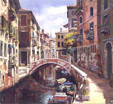 "Venetian Vista Giclee on Canvas Limited Edition 13/375 by Park 29.25""W x 23.5""H"