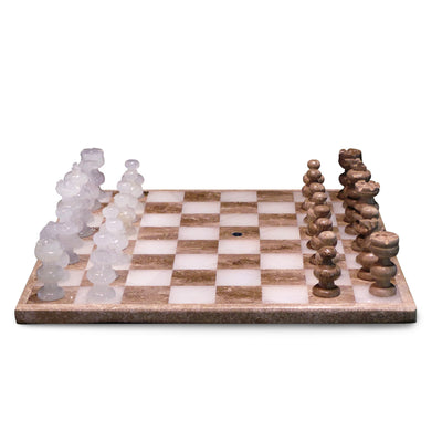 White and Tan Onyx Chess Set