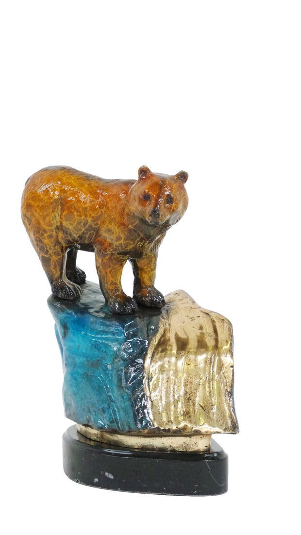 "Bear Standing on Hill on Marble Base - Special Patina 11""L x 7.5""W x 13""H"