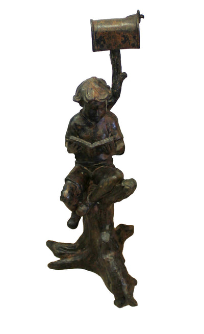 "Sitting Boy on Tree with Dog 6""L x 8""W x 13""H"
