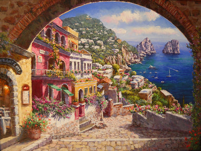 "Archway to Capri Giclee on Canvas Limited Edition 50/325 by Park 48""W x 38""H"