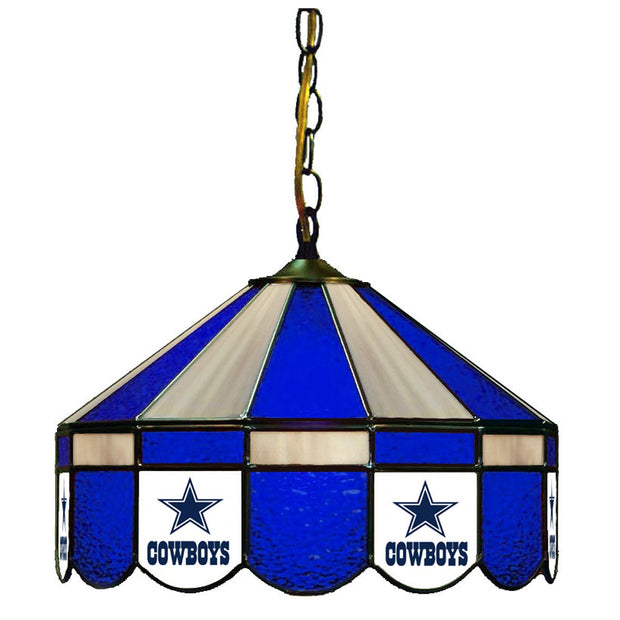"Cowboys 16"" Stained Glass Lamp Shade W/ Pull Light"