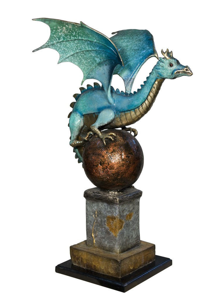 "Dragon on Ball on Marble Base - Special Patina 22""L x 29""W x 34""H"