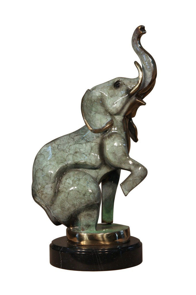 "Elephant on Marble Base - Special Patina 11""L x 8""W x 18.5""H"