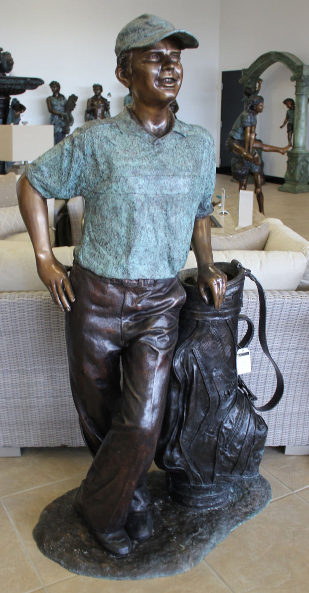"Golfer with Golf Bag (Life Size) 23""L x 39.5""W x 67""H"