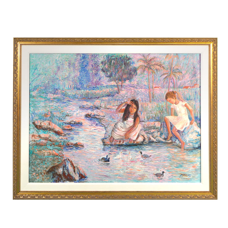 "Little Girls Play with Ducks Original Oil Painting by Shadian 46.5""W x 36.5""H"