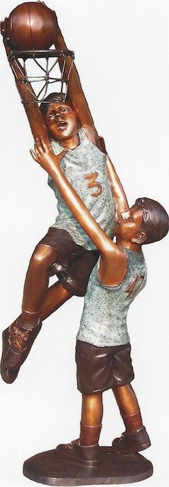 "Two Boys Playing Basketball 25""L x 30""W x 66""H"