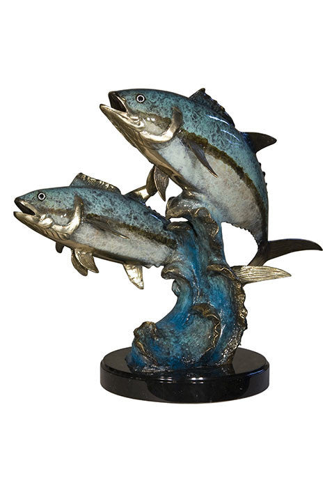 "Two Fish on Wave on Marble Base - Special Patina 26""L x 17""W x 20""H"