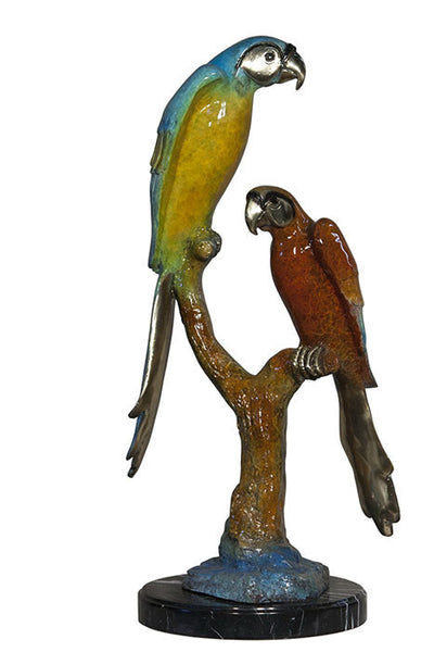 "Two Parrots on Marble Base - Special Patina 12""L x 12""W x 31""H"