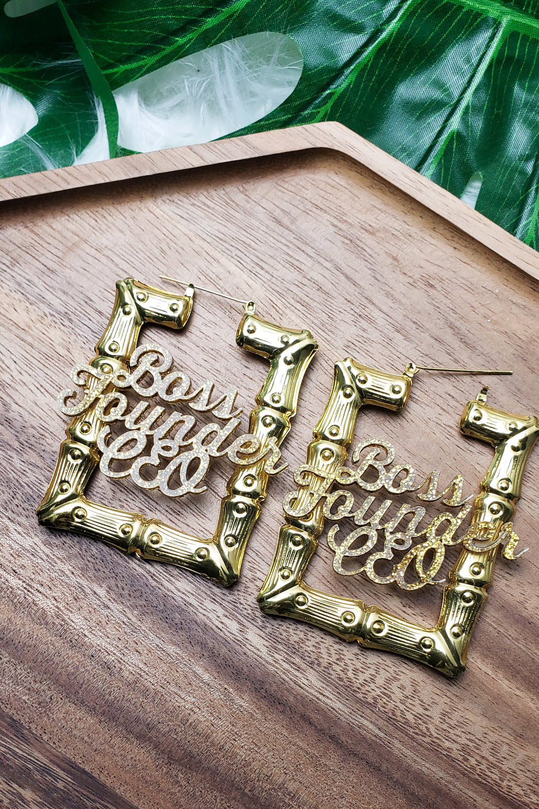 Boss, Founder CEO Rectangle Bamboo Earrings