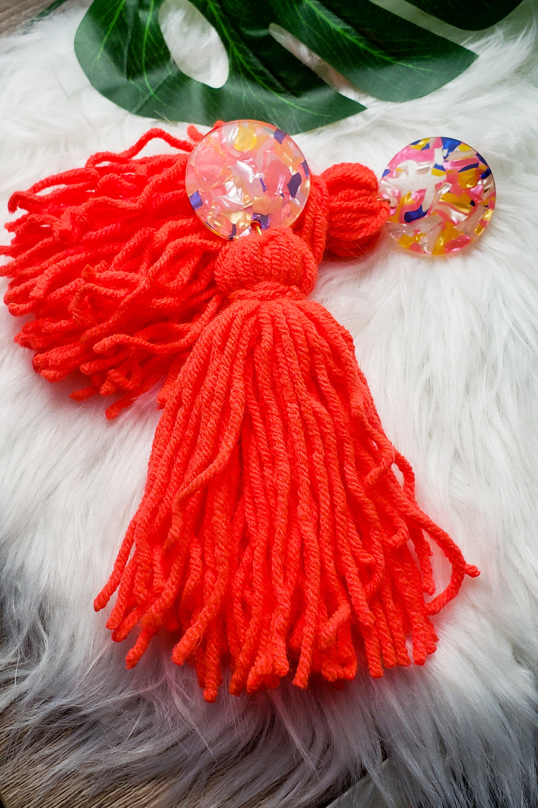 Coral Sprinkles- Tassel Earrings