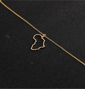 Africa Outline Necklace- (3 Color Options)